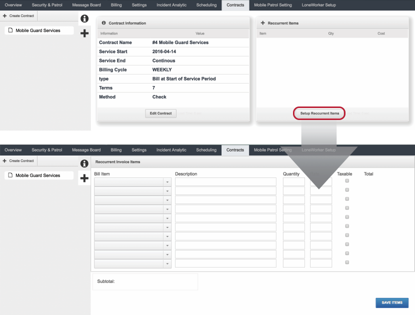 Configure Details of Recurrent Fixed Cost Items
