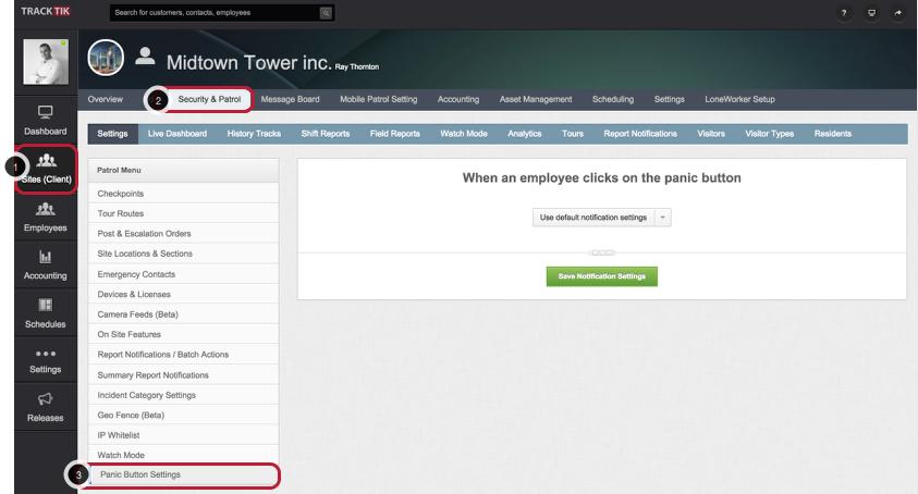 Access Site Panic Button Configuration