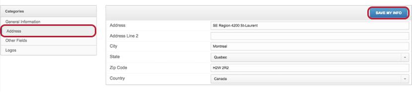 Add / Edit Company Address