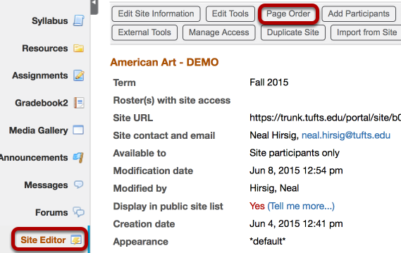 Use the Site Editor / Page Order tool to position (drag/drop) the Lessons Pages in the tool box.