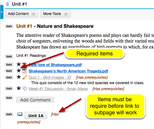 Example of a subpage with requirements.
