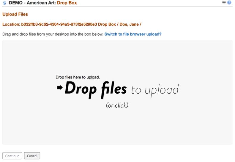 "Drag and Drop file(s) to the ""Drop Files"" box OR click in the ""Drop Files"" box to display your computer's file locator"