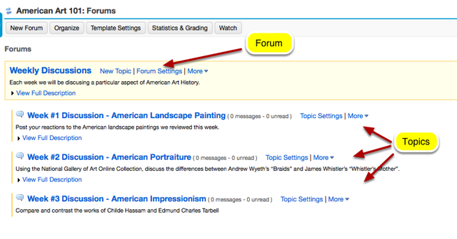 Example of a Forum with multiple Topics: