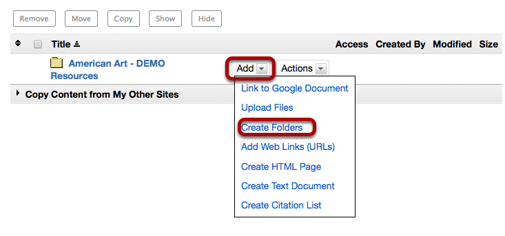To the right of the site's root folder, click Add / Create folders.