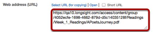 Under Web Address (URL) copy the item's URL.