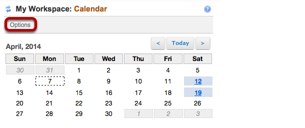 On your My Workspace Home page, click Calendar Options