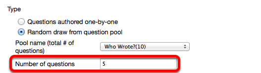 Enter the number of questions to randomly draw from the Question Pool.