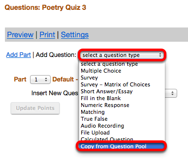 Click Select a Question type / Copy from Question Pool.