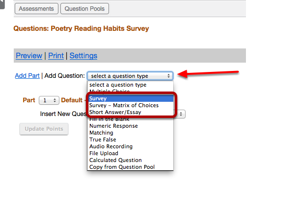 """Use the """"Select a question type"""" dropdown box to select a question type."""