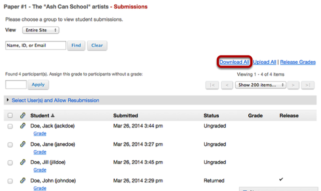 Alternative method to view Assignment submissions - From Assignment list, click Download All