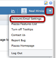 "Click on the down arrow to the right of your account name and select ""Account/Email Settings"""