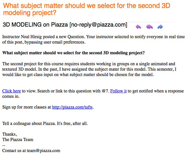 Example of the email sent to each student (if e-mail option was selected).