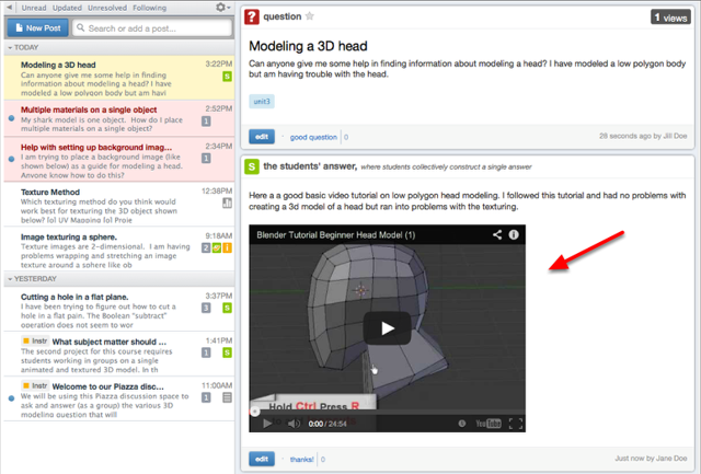Example of an embedded video in a Piazza post.
