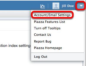 Click on Account / Email Settings