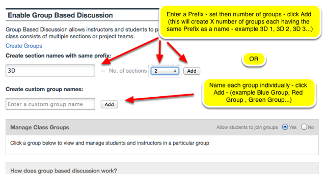 Enter a Prefix Group Name and set the number of groups OR Name Groups individually, then click Add