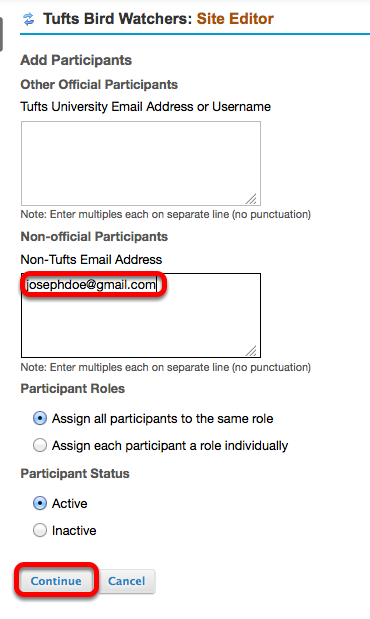 Enter the person's Tufts University e-mail address (or Tufts username) into the BOTTOM box, then click Continue.