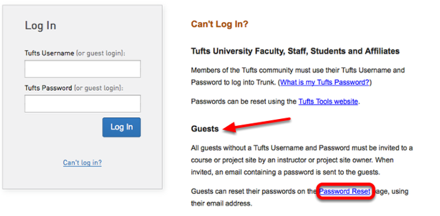 Under Guests, click Reset Password.