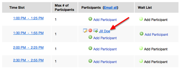 Example of a student manually added to a time slot: