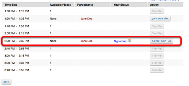 Example of completed sign-up sheet: