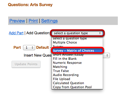 "Use the ""Select a question type"" dropdown box to select a Survey Matrix question type."