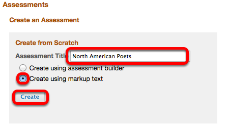 "Select ""Create using Markup Text"", enter a Question Pool Title, then click Create"