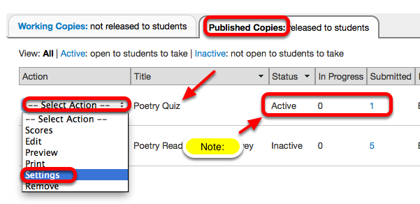 To change the Published Settings, under the Published Copies tab, for the selected assessment, click Select Action / Settings.