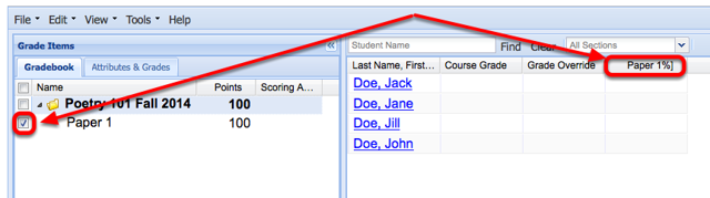 Checkmark the graded item to display the grade column in the spreadsheet.
