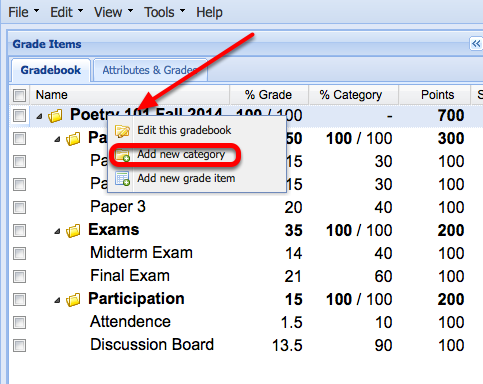 "Case 2: (Adding an extra credit category) - Right-Click the name of the Gradebook and select ""Add New Category""."