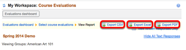 To Export the evaluation, click one of the Export options.