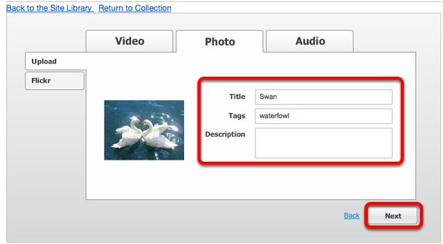 Edit Name, Tags or Description, then click Next