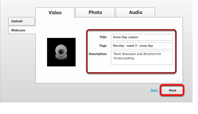 Enter a title, tags and a description for the web cam video, then click Next.
