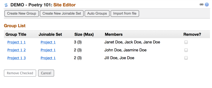 Instructor's view of joinable groups after students have joined (Example:)