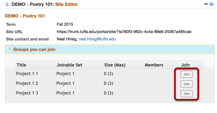 Students join groups by going to Site Editor / Groups you can join and clicking on Join (Example:)