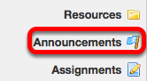 Go to the Announcements tool.