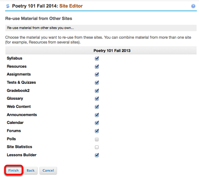 Checkmark the areas of content you would like to import, then click Finish.