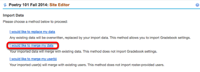 Click on the type of import action you would like.