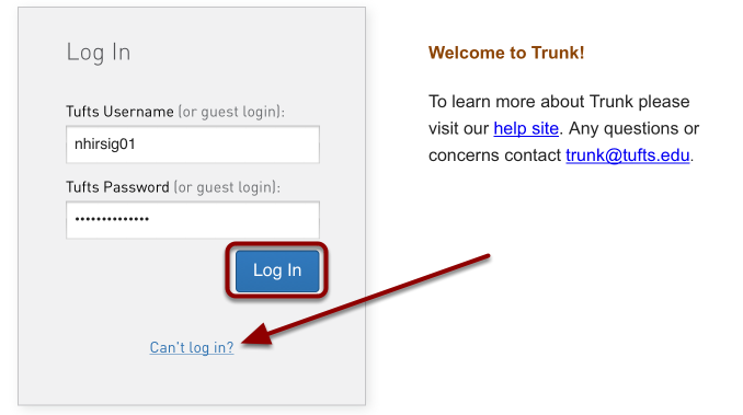 How do I log into Trunk?
