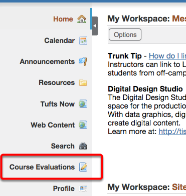 Go to Course Evaluations (on the left side of any Trunk page).