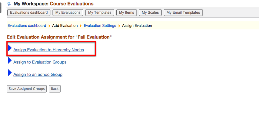Select Assign Evaluation to Hierarchy Nodes