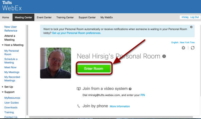 To enter your personal WebEx meeting room, click Enter Room