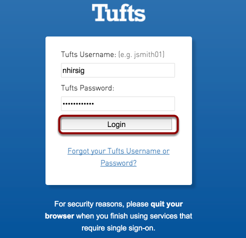 Enter your Tufts username and password, then click Login