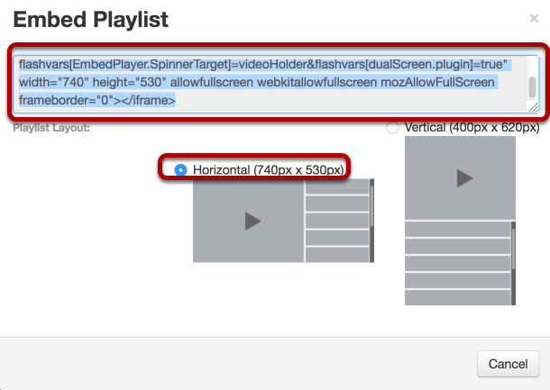 """Select the """"Horizontal"""" option (default) then copy the embed code to your computer clipboard (COMMAND-C MAC / CTRL-C PC)"""