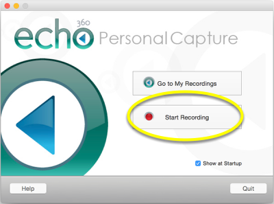"Launch the Personal Capture application, and click ""Start Recording."""