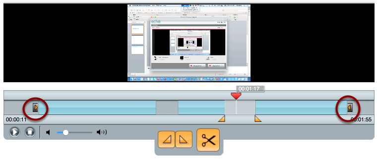 Drag inward on the boxed orange triangle to trim off a portion of the beginning (or ending) of your recording.