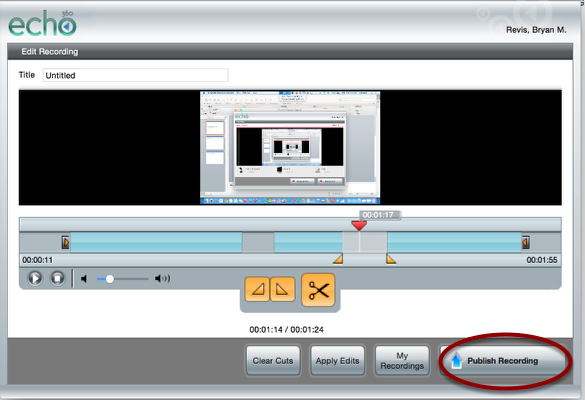 """To start processing and uploading immediately, click """"Publish Recording."""" To save and publish later, click """"My Recordings."""""""