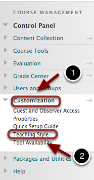 Image shows the course control panel opened on Customization, outlined in a red circle with a number 1, and Teaching Style Under Customization outlined in a red circle with a number 2.