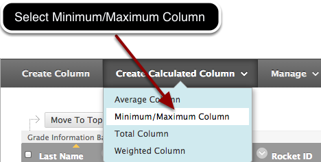 Step 1 - Select Minimum/Maximum Column