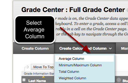 Step 1 - Select Average Column