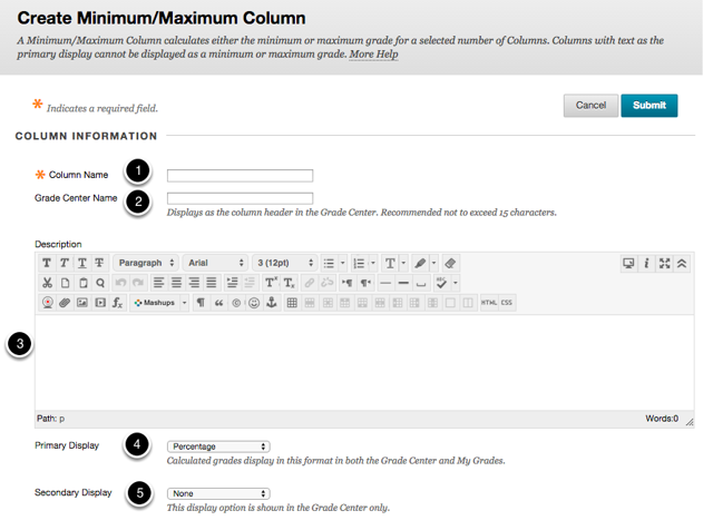 Step 2a - Fill out or select the options for Column Information
