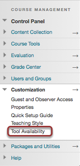 Image of the Blackboard Control Panel with Tool Availability outlined in a red circle